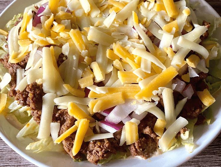 up close shot of layered keto taco salad