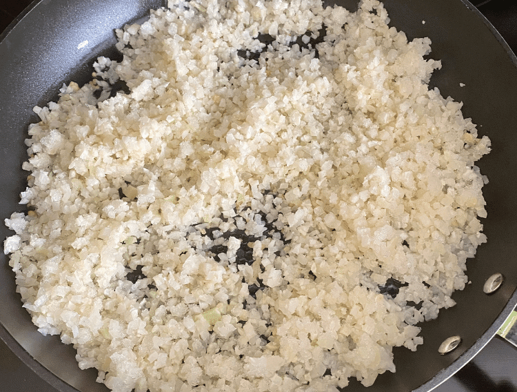 cauliflower rice in a large skillet