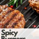 spicy beef burger patties on grill