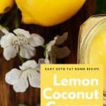 Lemon coconut creams with coconut manna, coconut flakes and coconut oil