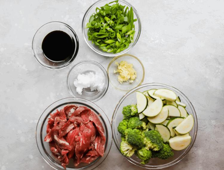 keto garlic steak stir fry ingredients