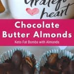 almond butter bombs on a white plate with a coffee mug
