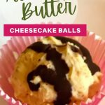 Almond Butter Cheesecake Ball drizzled with melted dark chocolate in a pink polka dotted muffin tin