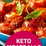 keto meatballs with marinara sauce and garnish in a blue bowl