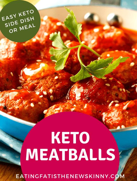 keto meatballs on a white plate pin