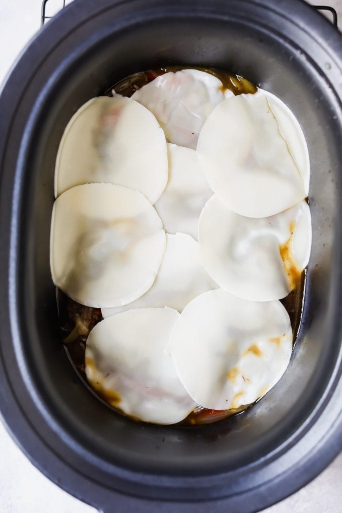philly crockpot beef smothered in cheese