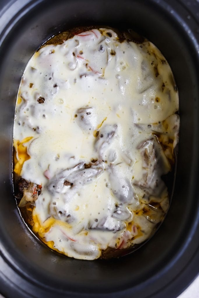 philly crockpot beef with melted cheese