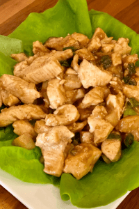 diced chicken breasts on butter lettuce wraps