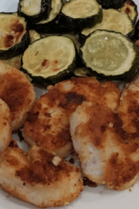 Keto chicken nuggets with a side of fried zucchini