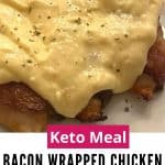 bacon wrapped chicken with spicy cheese sauce on a white plate