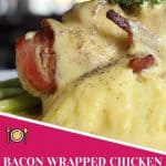 Bacon Wrapped Chicken w/ Spicy Cheese Sauce with garnish