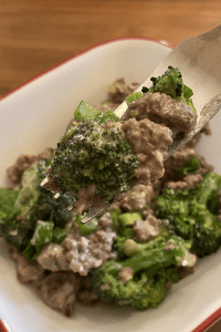 Creamy Garlic Broccoli & Beef on a white plate