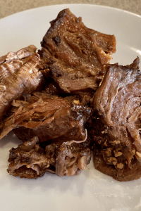 keto balsamic beef on a white plate