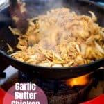 tender Garlic Butter Chicken Fajitas in a white plate