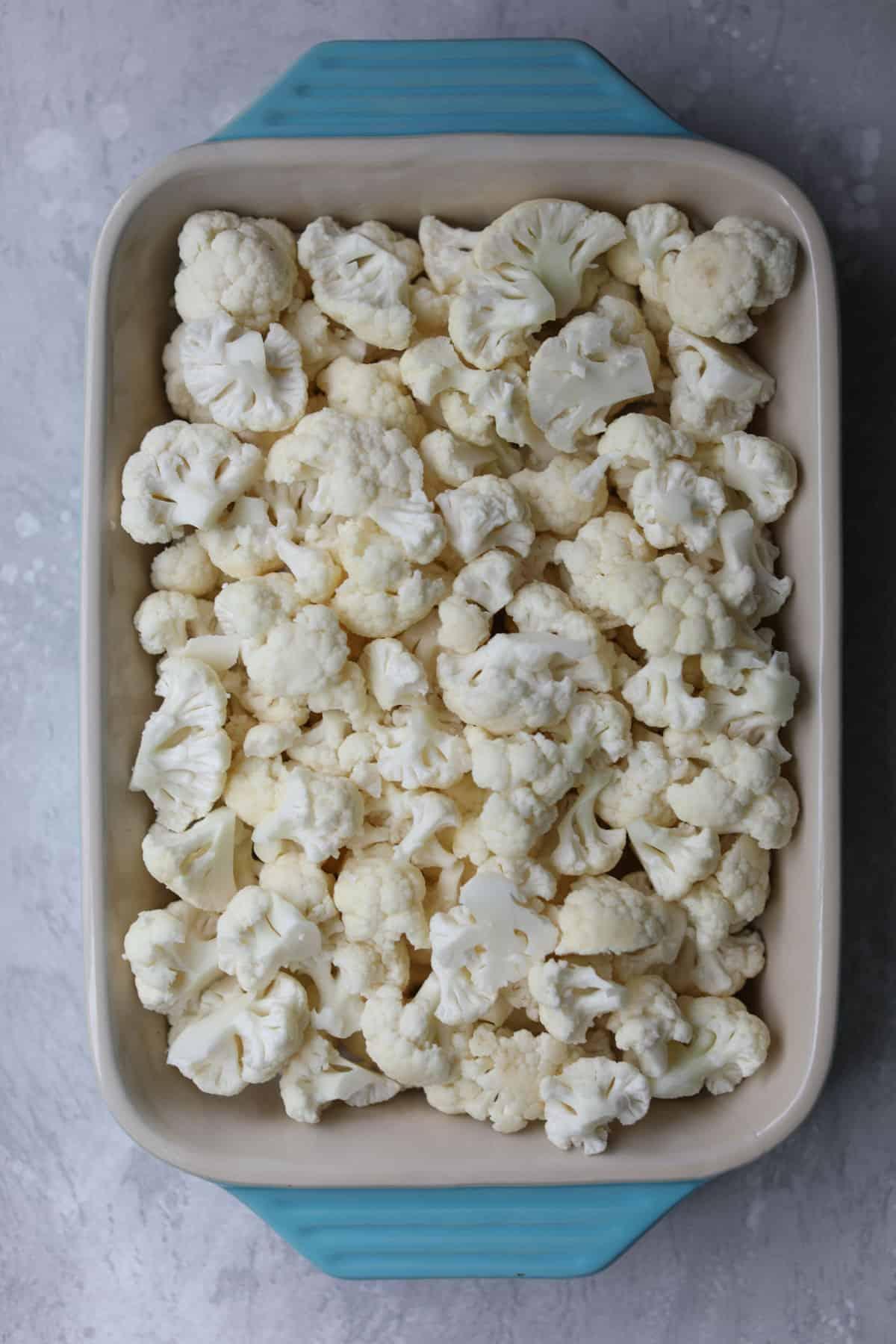 cauliflower in a baking dish