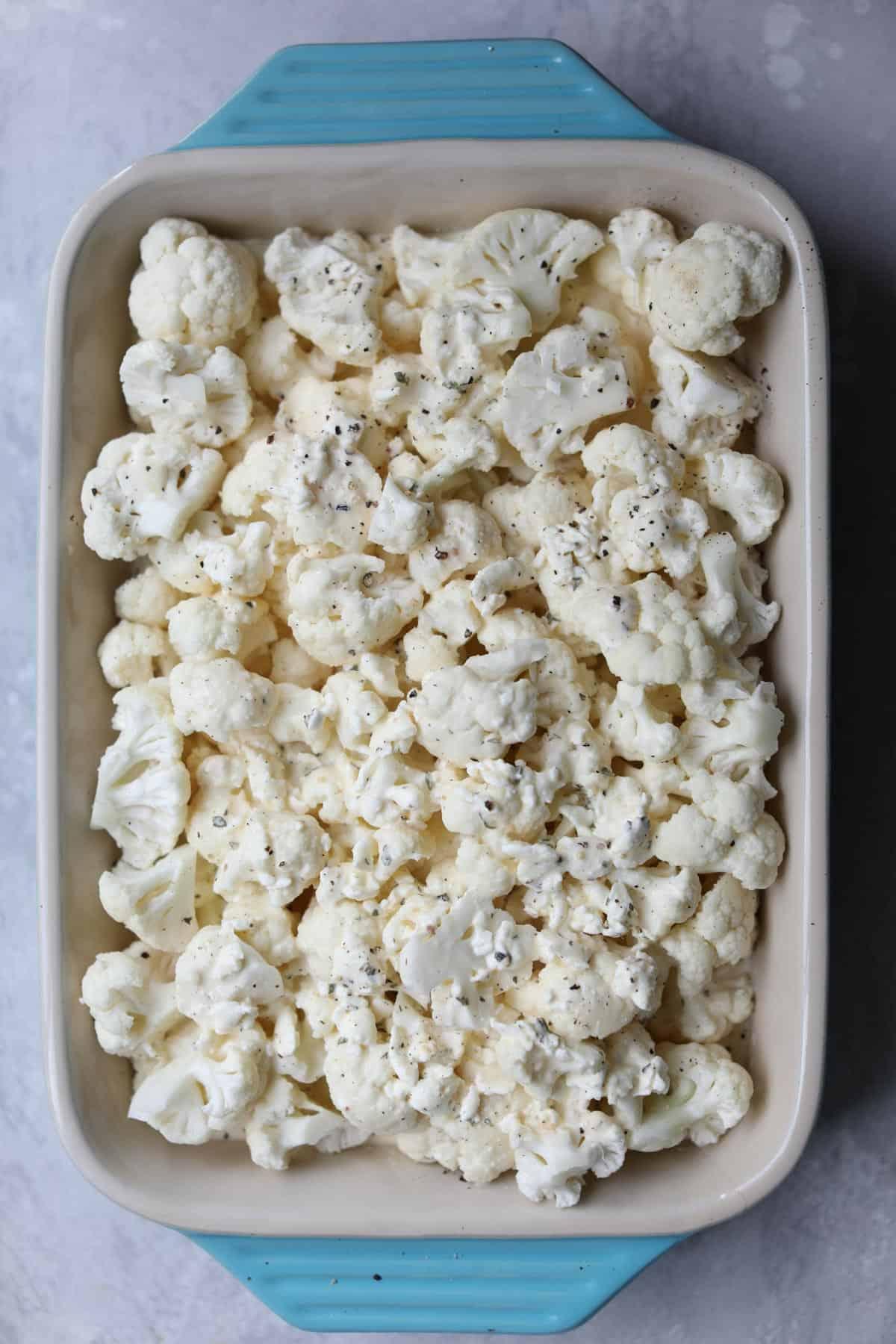 cauliflower with mac and cheese sauce
