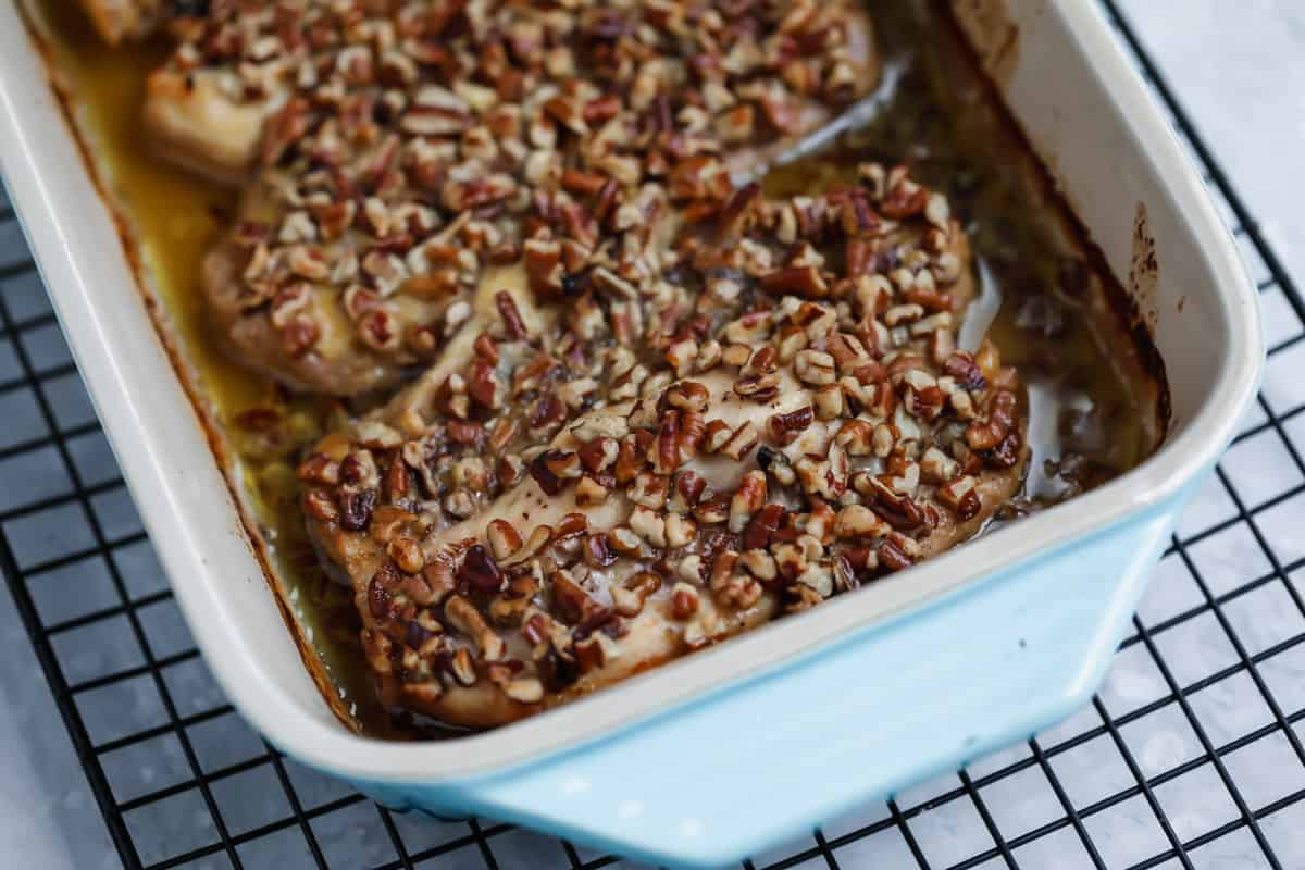 pecan crusted chicken in dish