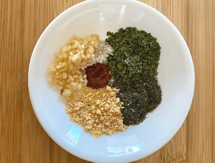 keto ranch dressing spices on a white plate