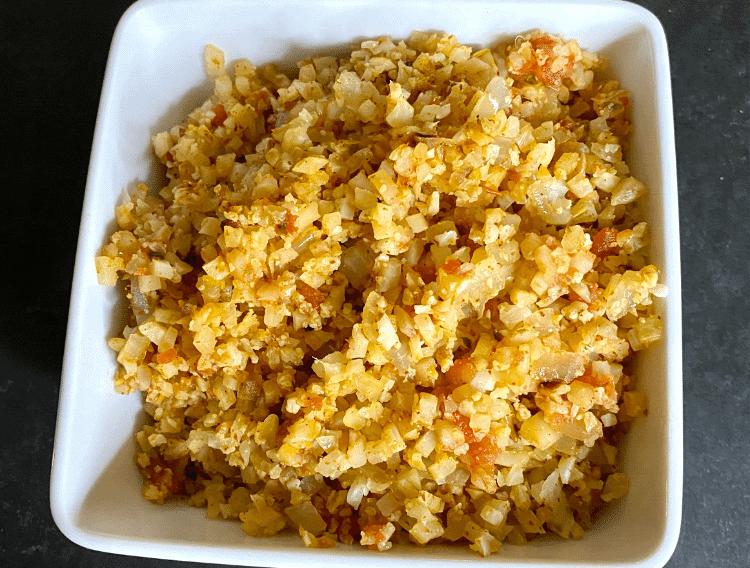 keto mexican cauliflower rice in a white bowl