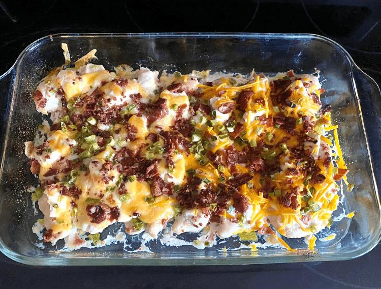 keto cheesy bacon chicken in casserole dish baked