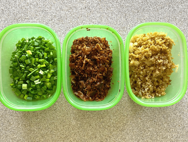 meal prep in green containers